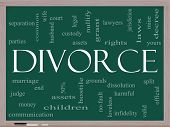 foto of loveless  - Divorce Word Cloud Concept on a Chalkboard with great terms such as marriage end laws infidelity split children and more - JPG
