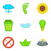 Monitoring Of The Environment Icons Set. Cartoon Set Of 9 Monitoring Of The Environment Icons For We poster