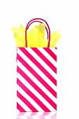 Pink Strip Gift bag with Yellow Tissue Paper. Isolated on white. Room for text. Shopping bag.  poster