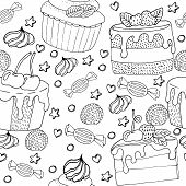 Seamless Pattern With Cake, Cupcake, Candy And Other Dessert With Berry poster