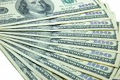 pic of ten thousand dollars  - Close up isolated ten banknotes of 100 dollars - JPG