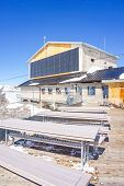 Upper Station Birg In Swiss Alps In Murren. Panoramic View Of The High Mountain Top Cable Car Statio poster
