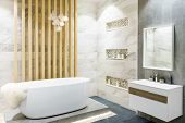 Modern Bathroom Interior With Minimalistic Shower And Lighting, White Toilet, Sink And Bathtub poster