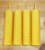 stock photo of taper  - the hand rolled natural beeswax candles taper - JPG