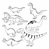Dinosaurs Set. Hand Drawn Vector Dinosaurs On White Background. Cartoon Dino. poster