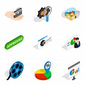 Faq Info Icons Set. Isometric Set Of 9 Faq Info Icons For Web Isolated On White Background poster
