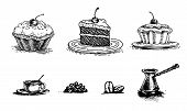 Cherry Cake, Piece Of Cake On A Platter, Cake, Vintage Graphics And Coffee. Vector Set Of Images For poster