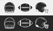 American Football Set. Football Helmets, Front And Side Views. Football Ball. Black And White. Vinta poster