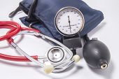 Set Of Diagnostic Kit For Determining Increased Blood Pressure For Doctors Of Cardiology, Internal M poster