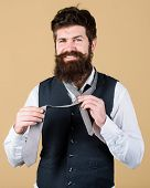 For A Trendy Casual Look. Hipster With Long Beard And Moustache Dressing In Classic Style. Bearded H poster