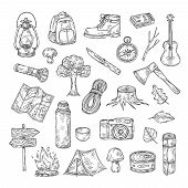 Doodle Camping. Hiking Camp Natural Wood Scout Outdoor Summer Adventure Sketch Outline Vector Icons. poster
