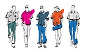Stylish Handsome Mans In Fashion Clothes. Hand Drawn Beautiful Young Mens. Stylish Mens. Fashion Men poster