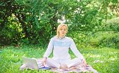 Woman Relaxing Practicing Meditation. Reasons You Should Meditate Every Day. Find Minute To Relax. C poster