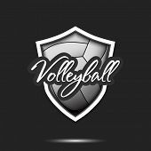 Volleyball Logo Design Template. Volleyball Emblem Pattern. Volleyball Ball And Shield With Vintage  poster