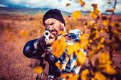 Autumn Hunting Season. Close Up Snipers Carbine At The Outdoor Hunting. Hunter With Shotgun Gun On H poster