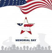 Happy Memorial Day. Greeting Card Template With Usa Flag With Star And Veteran Silhouettes On White  poster
