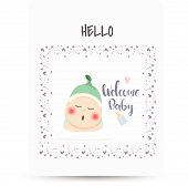 Congratulations New Lovely Baby Card Drawn,baby Card Background Message Newborn Gif, Baby Photo Prop poster