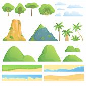 Landscape Constructor. Creation Kit With Trees Bushes Mountains Hills Clouds Coast Sand And Grass Ve poster