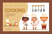 Cute Kids Chefs - Cooking Landing Page Banner Template With Cartoon Character Children And Utensils. poster