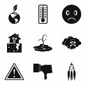 Global Climate Warming Icons Set. Simple Set Of 9 Global Climate Warming Icons For Web Isolated On W poster