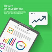 Return On Investment Roi Concept. Business Document Report With Growth Arrows To Success. Chart Incr poster