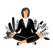 Meditation Vector Concept With Businesswoman Isolated On White Background. Businesswoman Meditation, poster