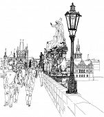 Charles Bridge - Prague, Czech Republic.  Bitmap copy my vector drawing