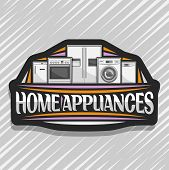 Vector Logo For Home Appliances, Black Decorative Label With Illustration Of Big Collection Silver C poster