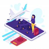 Isometric Airplane Travel. Traveler Suitcase, Airplane Travels And Traveling 3d Vector Illustration poster