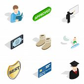 Single Individual Icons Set. Isometric Set Of 9 Single Individual Icons For Web Isolated On White Ba poster