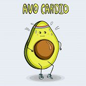 Funny Poster Or T-shirt Template With Cartoon Avocado Jogging poster