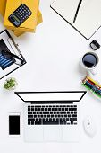 Flat Lay Office Desk Table Of Modern Workplace With Laptop On White Table, Top View Laptop Backgroun poster