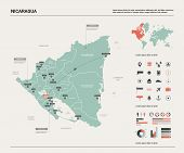 Vector Map Of Nicaragua. Country Map With Division, Cities And Capital Managua. Political Map,  Worl poster