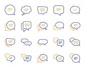 Chat And Quote Line Icons. Approved, Checkmark Box And Social Media Message. Chat Speech Bubble, Tic poster