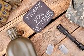Veterans Attributes On Wood, Flat Lay. Top View. Thank You Veterans. poster