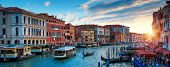 Panorama Of Venice At Sunset, Italy. Scenic View Of Grand Canal In Twilight. It Is A Top Tourist Att poster