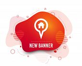 Fluid Badge. Map Pointer House Sign Icon. Home Location Marker Symbol. Abstract Shape. Gradient Map  poster