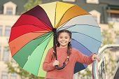 Ways Brighten Your Fall Mood. Colorful Accessory For Cheerful Mood. Girl Child Long Hair Ready Meet  poster