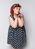 Beautiful Style Portrait Of A Full Fat Woman Plus Size In A Retro Dress And Cosmetics, A Polka-dot D poster