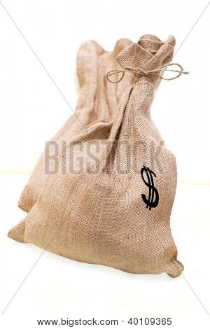 torn bags with the money
