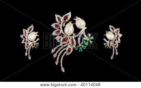 Designer diamond bird brooch