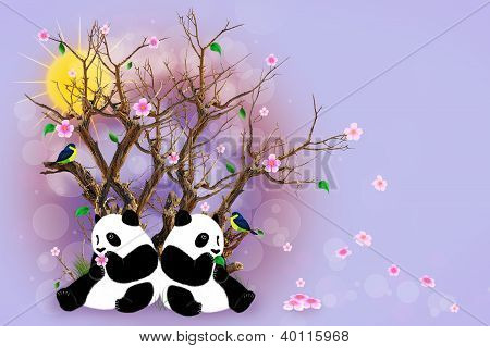 Lilac Greeting Card With Pandas