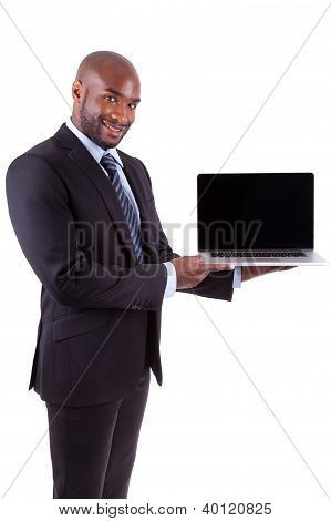 African Amercian Business Man Showing A Laptopn Screen