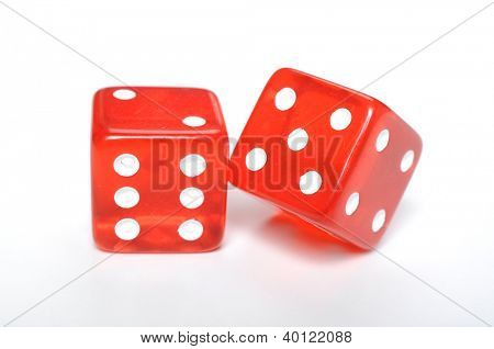 Two dices on white background