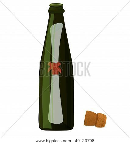 Bottle Message Vector
