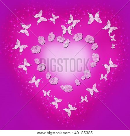 Background Valentine's Day In Pink And Purple Colors