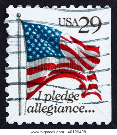 Postage Stamp Usa 1992 Usa Flag, Pledge Of Allegiance