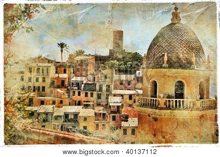 pictorial old streets of Italy,Vernazza, artistic picture