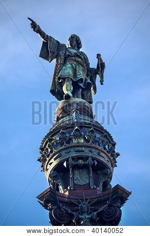 Columbus Pointing Statue Monument Barcelona Spain