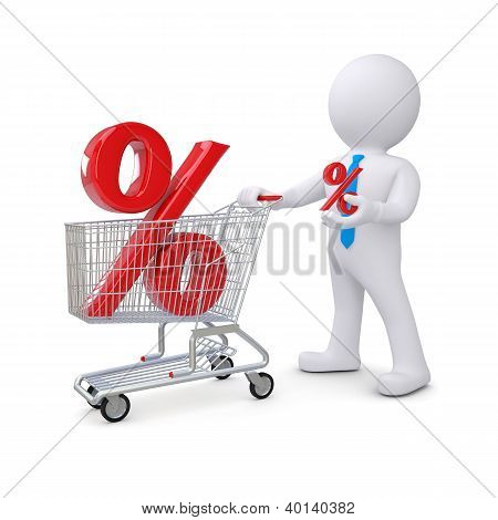 3D White Man With A Cart And Percent Sign